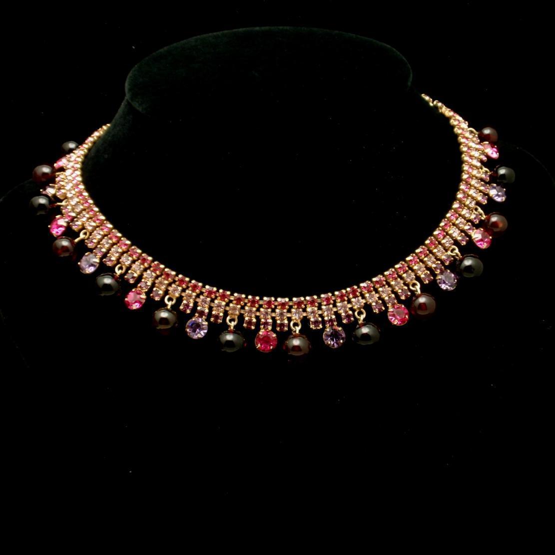Kramer Rhinestone Necklace Quality Stones Red Pink Purple Vintage