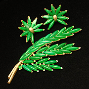 Trifari Green Leaf Pin & Earrings Set