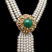 Florenza Imitation Pearl Necklace with Removable Drop Versatile 2-in-1 Vintage