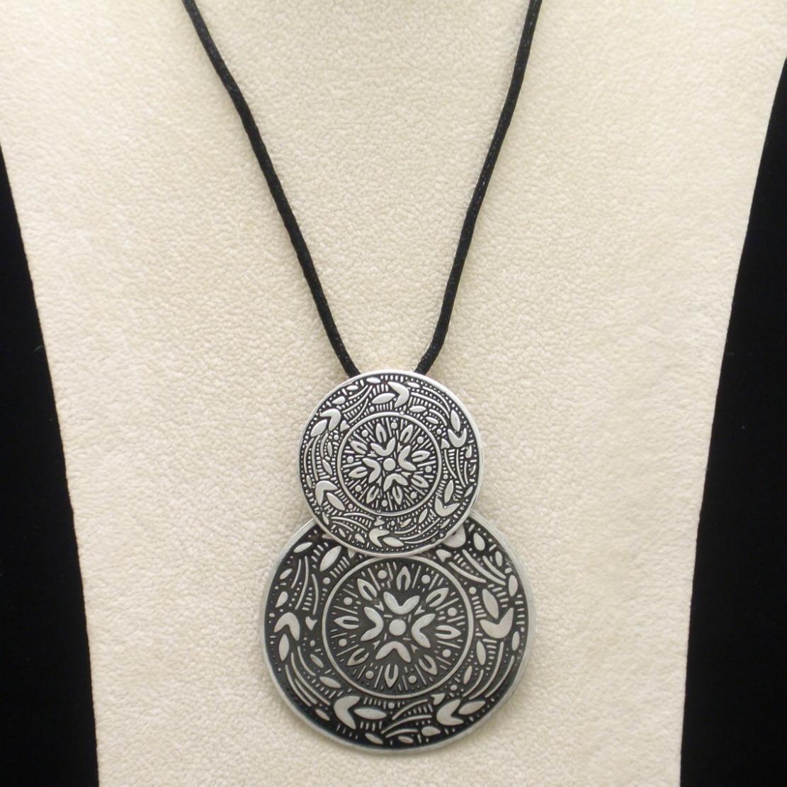 Eloxal Pendant Necklace Double Discs on Cord Vintage Aluminium