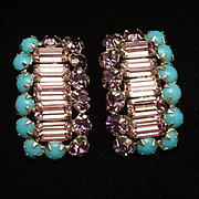 Schreiner 3-Color Rhinestone Earrings Vintage Clips