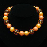 Coro Orange Choker Necklace Large Moonglow Beads Vintage