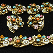 Multi-Colored Rhinestone Parure by Art Necklace Bracelet Earrings Set Vintage Antique Gold Tone