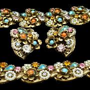 Multi-Colored Rhinestone Parure by Art Necklace Bracelet Earrings Set Vintage Antique Gold Tone