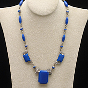 Art Deco Necklace Vintage Blue Glass Czechoslovakia