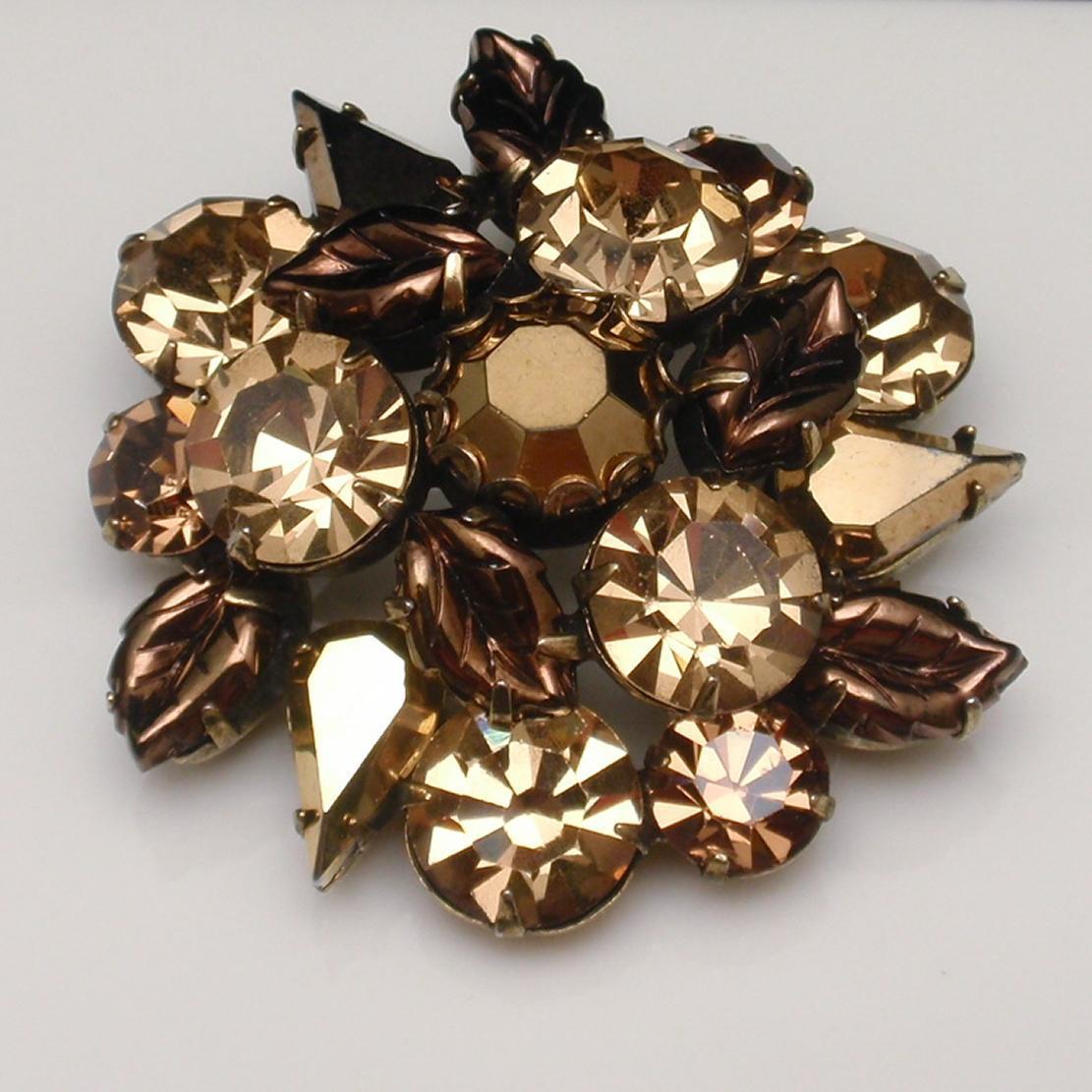 Regency Rhinestone Brooch Pin Vintage Bronze Tone Quality Stones