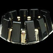 Black Bakelite Machine Age Bracelet Vintage