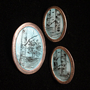 Tree and Bark Enamel Design Silver Pin and Earrings Set Neri