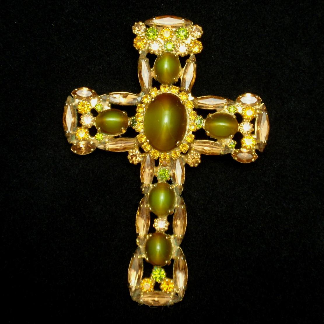 Large Jeweled Cross Brooch Pendant