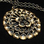 Reindeer Moss Pendant Necklace Bronze Finland