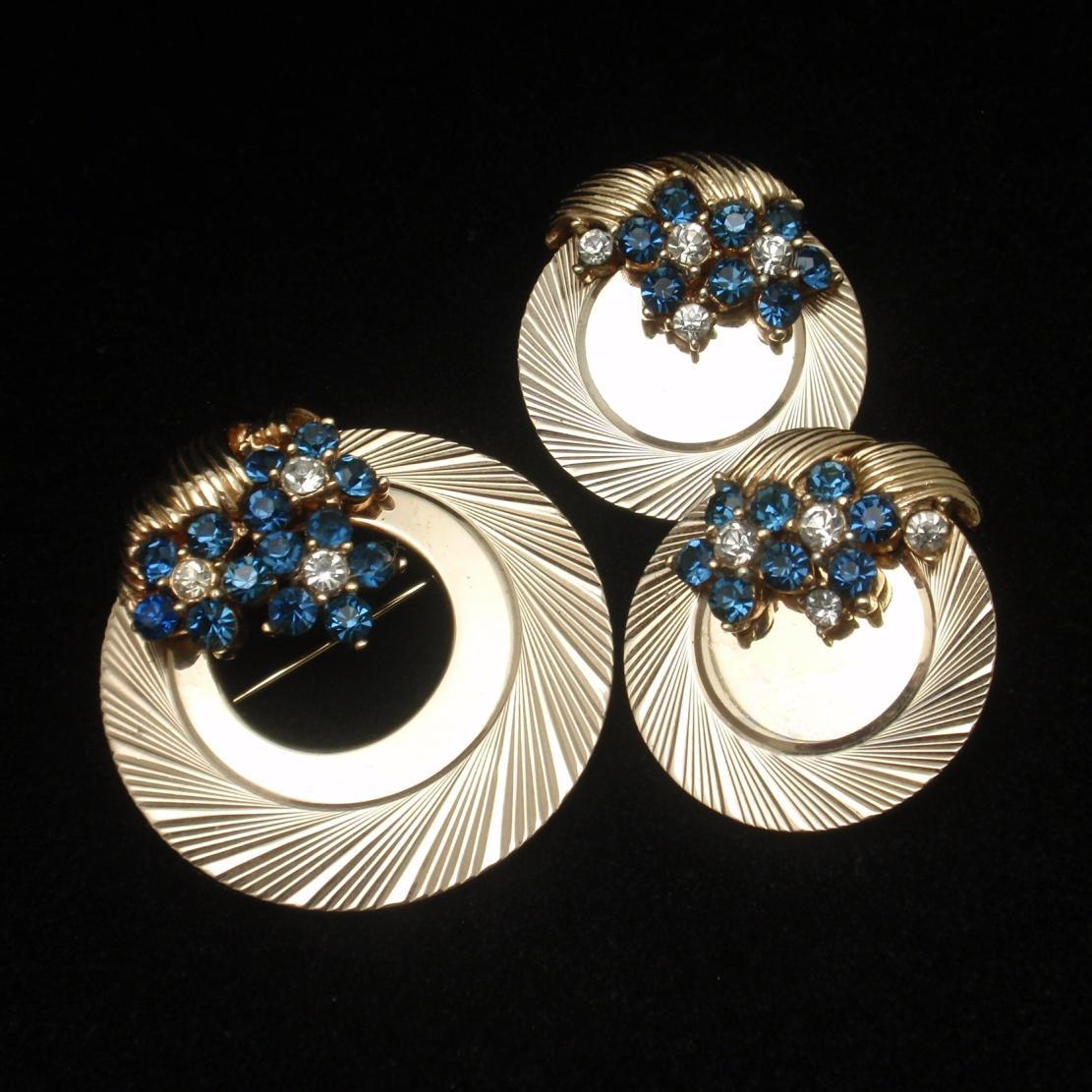 Boucher Circle Pin & Earrings Set Rhinestones Vintage