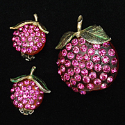 Forbidden Fruit Pin & Earrings Set Rhinestones Lucite Hot Pink Stones Vintage