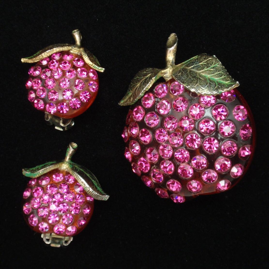 Forbidden Fruit Pin & Earrings Set Rhinestones Lucite Hot Pink Stones Vintage