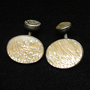 Sterling Silver and Abalone Shell Cuff Links Vintage