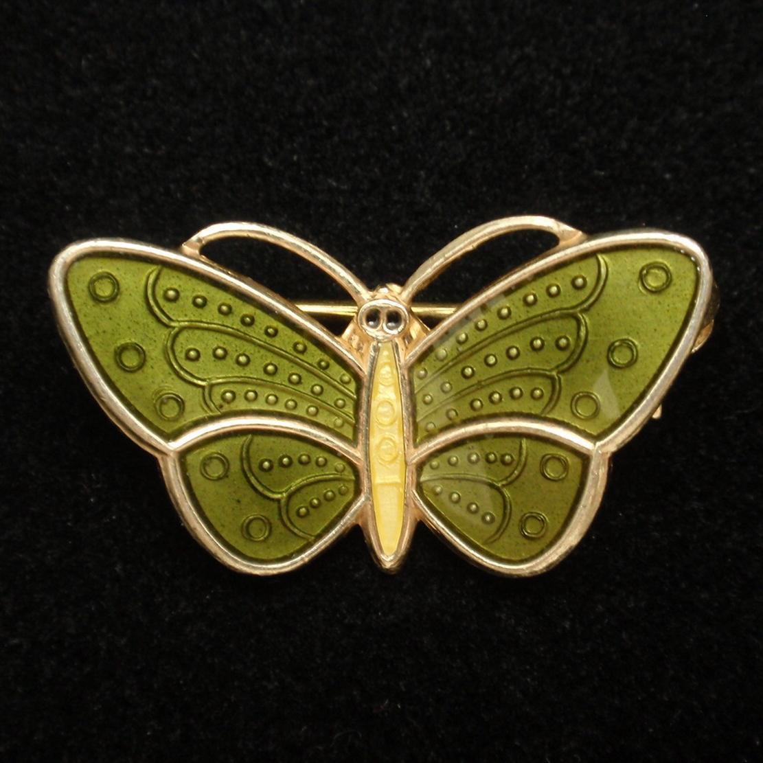 Butterfly Pin Sterling Silver Vermeil Enamel Aksel Holmsen Norway