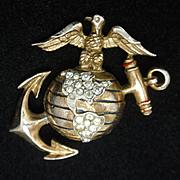 Trifari Marine Corps Insignia Brooch Pin Sterling Silver 1943