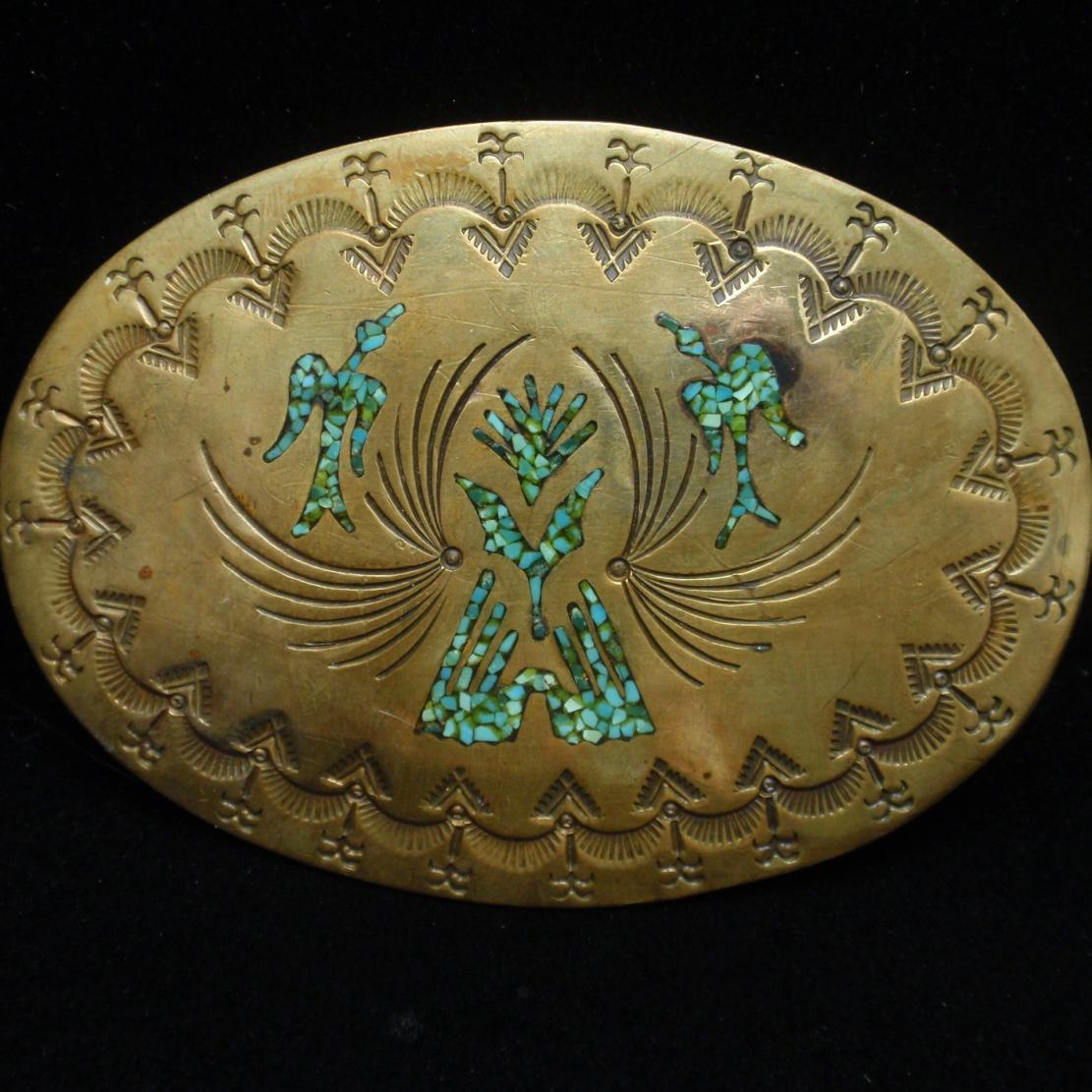 Large Brass & Turquoise Belt Buckle Nakai Navajo
