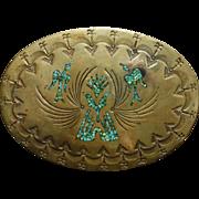 Large Brass & Turquoise Belt Buckle Nakai Navajo