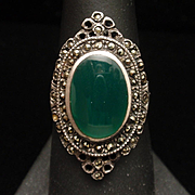 Green Onyx Marcasite Sterling Silver Ring