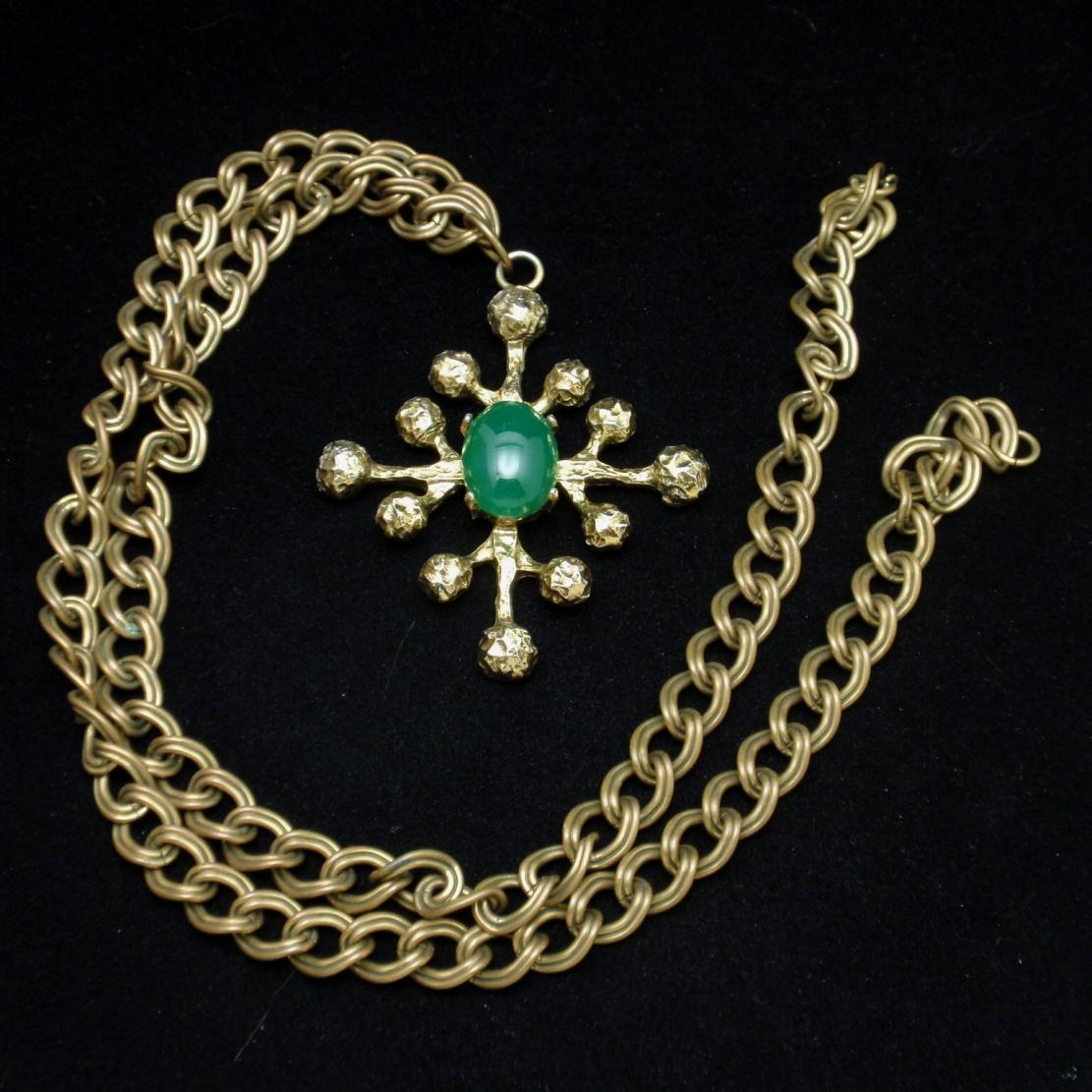 Modernist Pendant on Heavy Necklace Chain Vintage Zentall