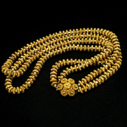 Etruscan Revival Necklace Textured Ribbed Rosettes 2-Strands