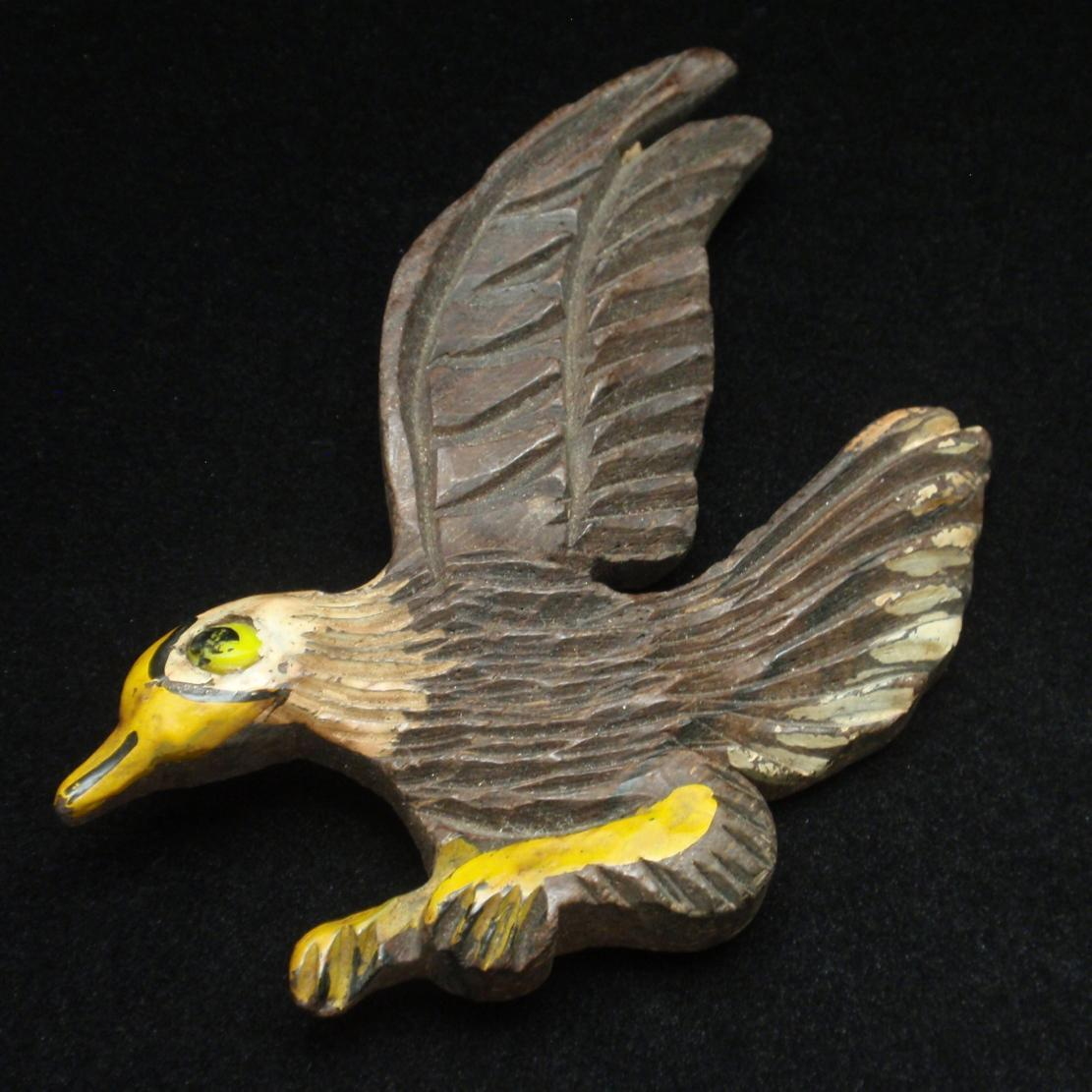 Wooden Bird Pin Vintage Painted