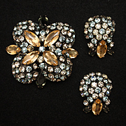 Schreiner Pin and Earrings Set Vintage Rhinestones