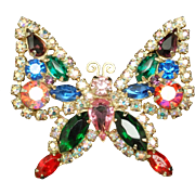 Butterfly Pin Vintage Kramer Brooch with Multi-Colored Rhinestones