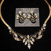Trifari Necklace Earrings Set Black Enamel Clear Rhinestones Gold Tone Metal