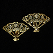 Fan Shaped Damascene Earrings Vintage Spain