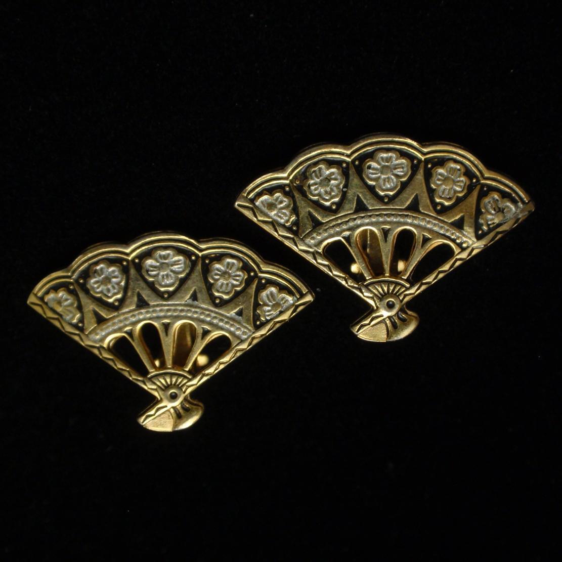 Fan Shaped Damascene Earrings Vintage Spain
