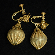 Miriam Haskell Gold Tone Drop Earrings