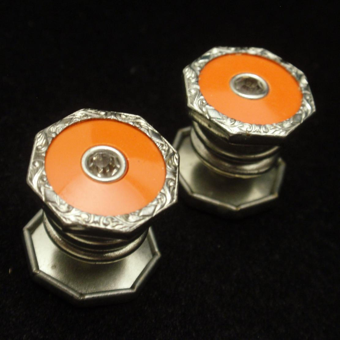 Orange Enamel Snap Together Cuff Links Vintage