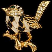 Bird Pin Figural Brooch Harlequin Checkerboard Enamel