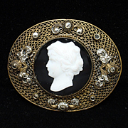 Cameo Brooch Pin Black & White Vintage Czechoslovakia