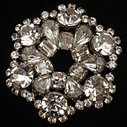 Classic Rhinestone Circle Pin Large Sparkly Stones