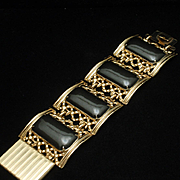 Chunky 1950s Wide Bracelet in Black and Gold