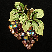 Cluster of Grapes Pin Pendant Enamel Rhinestones