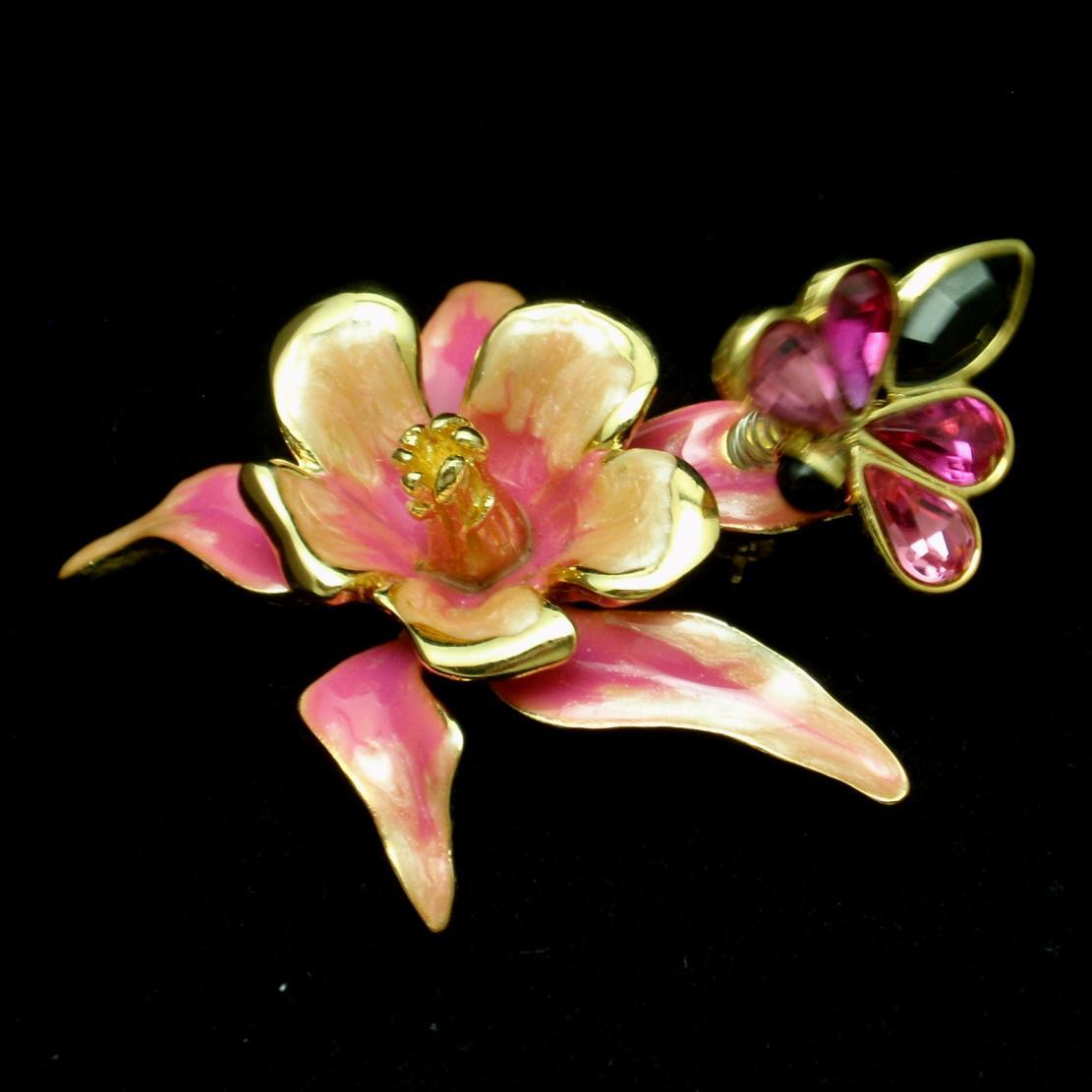 Flower and Butterfly Brooch Pin Trembler Vintage Enamel Bob Mackie
