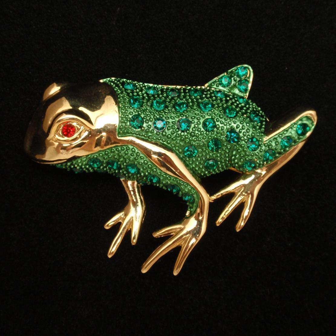 Frog Pin Vintage Figural Brooch Enamel and Rhinestones