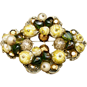 Vintage Brooch Pin with Large Chunky Stones