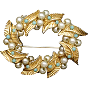 Wreath Circle Pin Vintage with Imitation Pearls