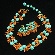 Branch Coral and Aqua Bead Necklace & Earrings Set Vintage
