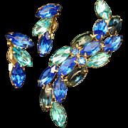 Vivid Blue Rhinestone Brooch Pin & Earrings Set Vintage