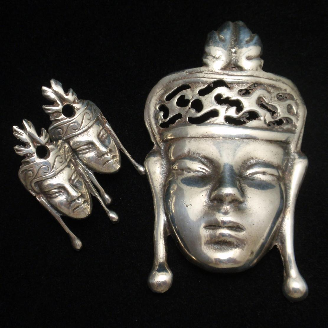 Sterling Silver Face with Crown Pin & Earrings Set