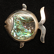 Fish Pin Sterling Silver Abalone Mexico Vintage