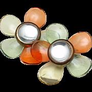 Large Flower Earrings Vintage Cellulose Acetate