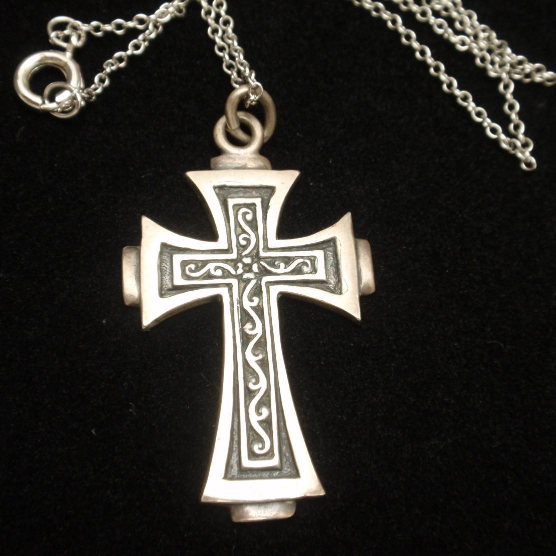 Cini Cross Pendant Necklace Vintage Sterling Silver