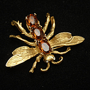 Insect Bug Brooch Pin with Topaz Rhinestones