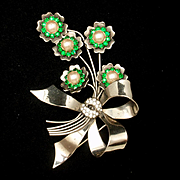Oversized Flower Pin Vintage 1940s Sterling Silver Rhinestones and Imitation Pearls